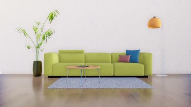 Obývací pokoj interiér ve stylu moderní minimalistický design s pohovka, konferenční stolek, stojací lampa a pokojová rostlina na pozadí prázdné bílé zdi. Realistické 3d animace vykreslované v rozlišení 4k