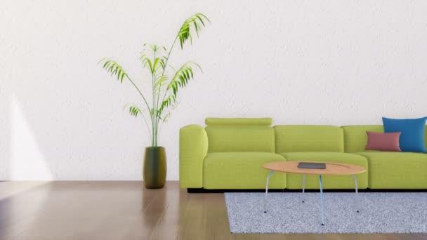 Zöld kanapé, dohányzóasztal, szobanövény és állólámpa a modern minimalista nappali belső másol hely üres fehér stukkó falon. Pán jobb lövés tette a 4k, 3d animáció
