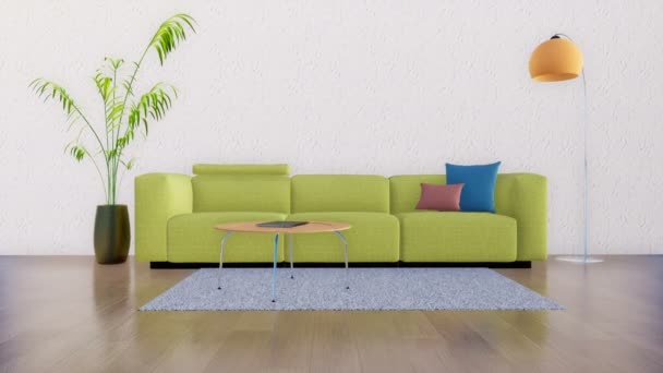 Modern minimalist living room interior with green sofa, coffee table, floor lamp and houseplant against empty white wall with copy space. Realistic 3D animation rendered in 4K