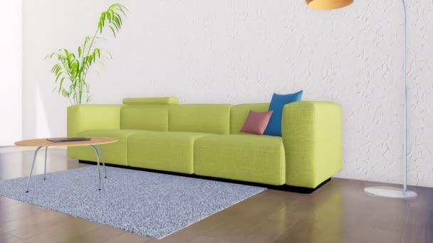 helles, modernes Wohnzimmerinterieur im minimalistischen Design-Stil mit Sofa, Couchtisch, Stehlampe und Zimmerpflanze auf leerem weißen Wandhintergrund mit Kopierraum. 3D-Animation in 4k gerendert