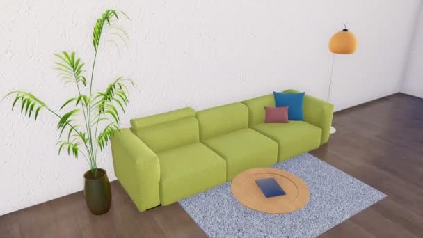 Zöld kanapé, dohányzóasztal, padló-lámpa és szobanövény világos modern minimalista nappali belső üres fehér fal és a fa padló. Valósághű 3D-s animáció jelenik meg, a 4k