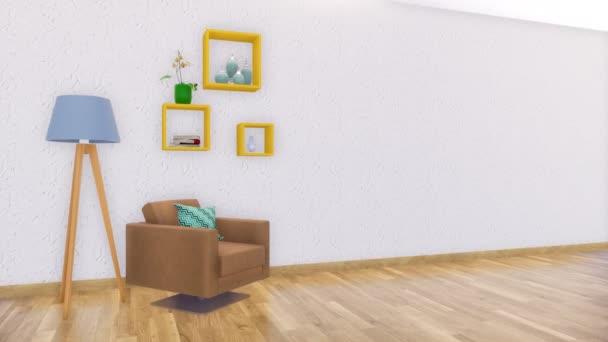 Barna fotel, padló-lámpa és egyszerű négyzet polcok a modern minimalista nappali belső másol hely üres fehér stukkó falon. Valósághű 3D-s animáció jelenik meg, a 4k