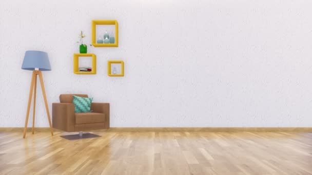 Modern minimalist living room interior design with armchair, floor lamp and simple shelves on empty white wall background with copy space. Realistic 3D animation rendered in 4K