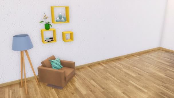 Židle s područkami, stojací lampa a jednoduché police v interiéru moderní minimalistický obývací pokoj s prázdnou bílou štukovou zdi a dřevěné podlahy. Realistické 3d animace vykreslované v rozlišení 4k