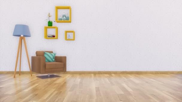Fotel, szabványos lámpával és egyszerű négyzet polcain fényes modern minimalista nappali belső üres fehér fal és a fából készült padló. Valósághű 3D-s animáció jelenik meg, a 4k