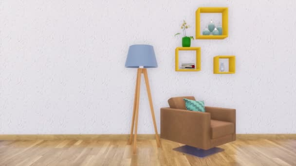 Bright modern living room interior in minimalistic design style with armchair, floor lamp and simple shelves on empty white wall background with copy space. 3D animation rendered in 4K