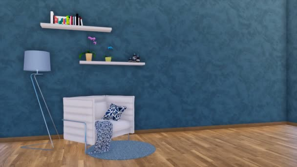 Modern minimalist living room or studio interior with white armchair, lamp and simple shelves on empty dark blue textured stucco wall background and parquet floor. 3D animation rendered in 4K