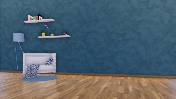 Moderne minimalistische woonkamer studio interieur met witte