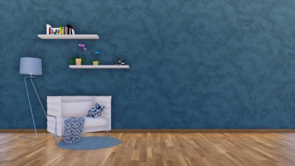 Modern minimalist living room interior design with armchair, floor lamp and simple shelves on empty dark blue textured wall background with copy space. 3D animation rendered in 4K