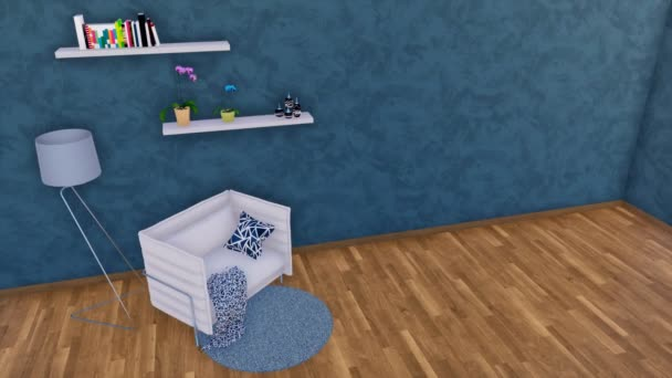 Křeslo nebo malé sofa, stojací lampa a jednoduché police v interiéru moderní minimalistický obývací pokoj s prázdnou tmavě modré tvarovaných stěn a dřevěné parkety. 3D animace vykreslované v rozlišení 4k
