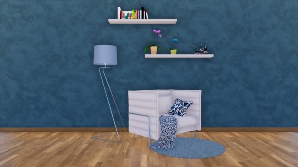 Modern minimalistic living room interior with white armchair or tiny sofa, floor lamp and simple shelves on empty dark blue textured stucco wall with copy space. 3D animation rendered in 4K
