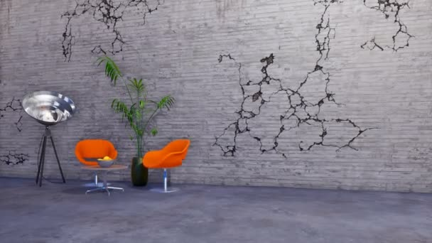 Modern minimalist interior design with chairs, coffee table and floor lamp stylized as a spotlight on grey cracked wall background in loft apartment or creative workshop. 3D animation rendered in 4K