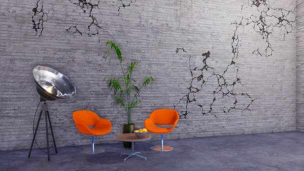 Modern orange chairs, coffee table and spotlight floor lamp in grunge minimalist loft or creative studio interior with empty grey cracked concrete wall and copy space. 3D animation rendered in 4K