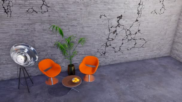 Two orange chairs, coffee table and floodlight floor lamp in modern minimalist loft or creative workshop interior with empty cracked concrete wall and copy space. 3D animation rendered in 4K