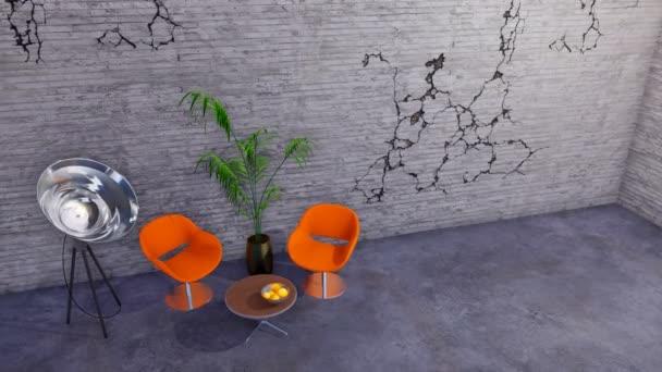 Két narancssárga székekkel, kávézó asztal és a világítás padló lámpa modern minimalista loft vagy kreatív műhely belső repedt beton fal és másol üres. 3D animáció jelenik meg, a 4k