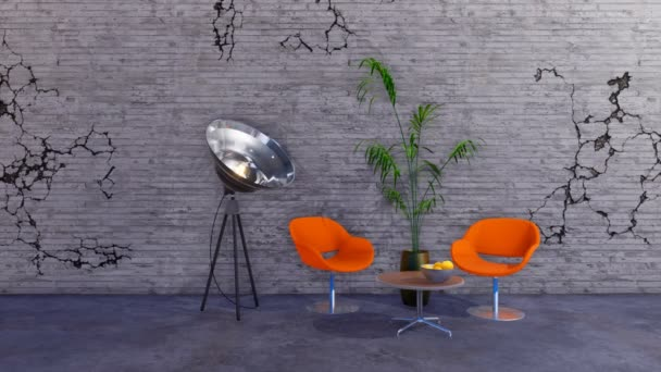 Modern loft style grunge minimalist interior of living room or creative studio with orange chairs and spotlight lamp against empty grey cracked wall with copy space. 3D animation rendered in 4K