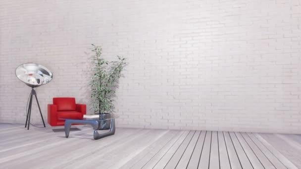 Světlé loft stylu minimalistický interiér obývacího pokoje nebo kreativní studio s moderní křeslo, stolek a spotlight lampa prázdná bílá cihlová zeď s kopie prostoru. 3D animace vykreslované v rozlišení 4k