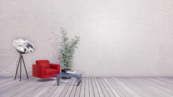 Červené křeslo, skleněný konferenční stolek a svítidlo stojací lampa v moderní světlé minimalistické loft nebo kreativní studio interiér s prázdné bílé cihlové zdi a dřevěné podlahy. 3D animace vykreslované v rozlišení 4k