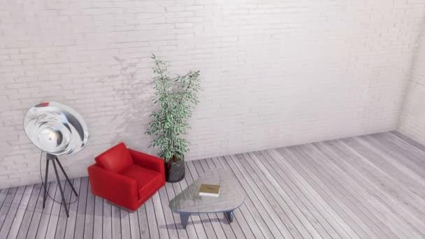 Modern piros fotel, üveg dohányzóasztal és a világítás padló lámpa egyszerű minimalista loft vagy kreatív műhely belső üres fehér tégla fal és szürke fa padló. 3D animáció jelenik meg, a 4k