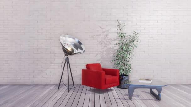 Moderní červené křeslo, skleněný konferenční stolek a stojací lampa reflektor v interiéru minimalistický obývací pokoj s prázdné bílé cihlové zdi a grey dřevěné podlahy. Realistické 3d animace vykreslované v rozlišení 4k