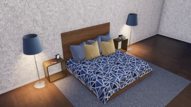 Modern minimalist bedroom interior design wooden double bed simple