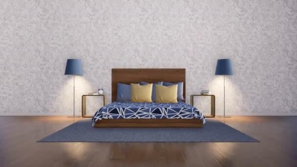 Jednoduchý interiér symetricky uspořádané ložnice v moderním minimalistickém stylu s manželská postel, noční stolek a stojací lampa na zeď prázdný bílý štuk na pozadí. 3D animace vykreslované v rozlišení 4k