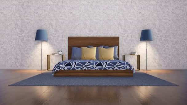 Interiér jednoduchý symetrický ložnice ve stylu moderní minimalistický design s manželskou postel, dva noční stolky, stojací lampy na zeď pozadí s kopie prostor prázdný bílý štuk. 3D animace vykreslované v rozlišení 4k