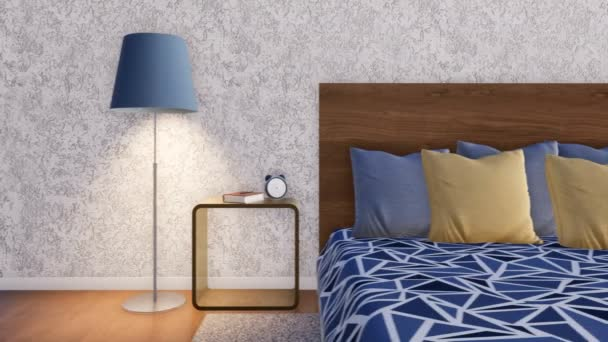 Minimalistische slaapkamer interieur met beige muren een houten