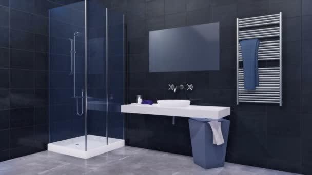 Moderní minimalistické koupelny interiér v černé a bílé barvy s jednoduché sklo sprchový kout, zrcadlo a Keramické umyvadlo na lesklé tmavě šedá obkládačkách. 3D animace vykreslované v rozlišení 4k