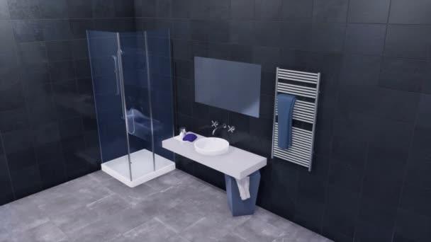 Jednoduché sklo vejít sprchový kout, zrcadlo a bílé umyvadlo v moderní minimalistické koupelny interiér s lesklými černými obkládačkách a tmavě šedé podlaze je keramická dlažba. 3D animace vykreslované v rozlišení 4k