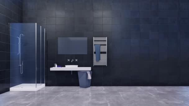 Moderní minimalistické koupelny interiér v černé a bílé tóny s sprchový kout sklo a jednoduché Keramické umyvadlo proti prázdné tmavě šedé obkládačkách pomocí kopie prostoru. 3D animace vykreslované v rozlišení 4k