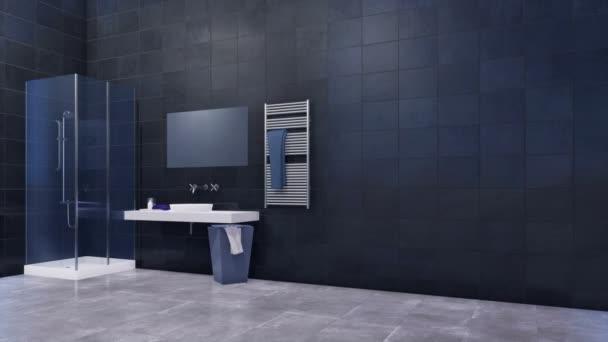Moderní prostorná koupelna s jednoduchým sklem chodit v sprchu, zrcadlo, bílé umyvadlo a lesklé černé mramorové obklady zdí s kopie prostoru. Minimalistický 3d animace vykreslované v rozlišení 4k
