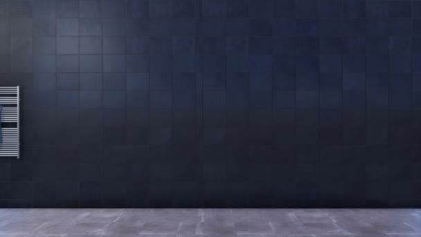 Design interiéru moderní minimalistické koupelny s jednoduchým sklem vejít sprchový kout, zrcadlo a bílé keramické umyvadlo na prázdné černé mramorové obkládačkách pozadí s kopie prostoru. 3D animace vykreslované v rozlišení 4k