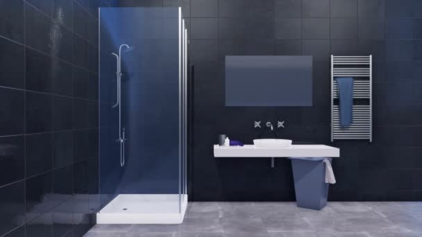 Interiéru moderní minimalistické koupelny s jednoduchým sklem vejít sprchový kout, zrcadlo a bílé umyvadlo na zdi zdobí lesklé černé mramorové obklady a šedé keramických obkladů. 3D animace vykreslované v rozlišení 4k