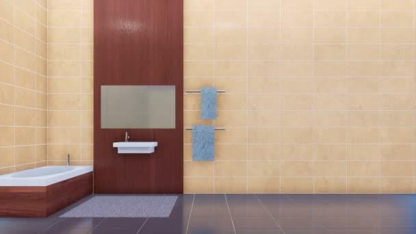 Moderní minimalistický elegantní koupelny interiér v teplé světlé barvy s vanou, zrcadlo a jednoduché Keramické umyvadlo na prázdný béžové obkládačkách pozadí s kopie prostoru. 3D animace vykreslované v rozlišení 4k