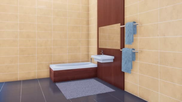 Modern fürdőszoba felszerelés - káddal, tükör, fényes, minimalista fürdőszoba belső másol helyet bézs csempe fal és szürke Márvány padló, kerámia mosdó. 3D animáció jelenik meg, a 4k
