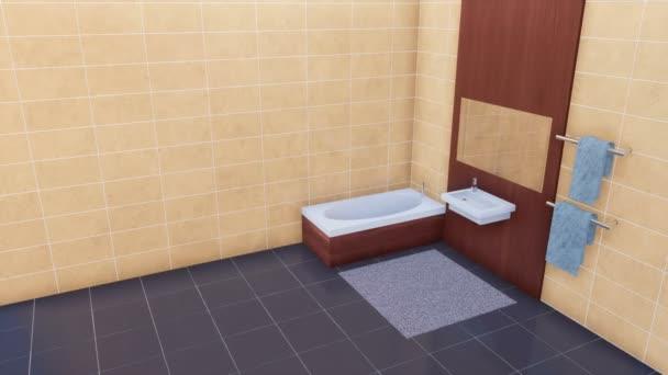 Moderní světlé koupelny interiér v minimalistickém stylu s vanou, zrcadlo, jednoduché umyvadlo, prázdné béžová dlážděné zdi a tmavě šedá keramická dlažba. Bez lidí 3d animace vykreslen v rozlišení 4k