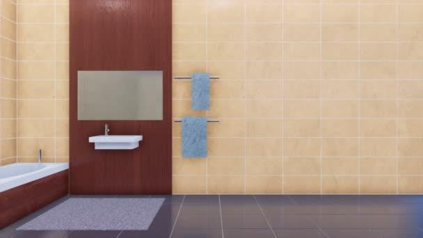 Moderní lázně obutí - vana, zrcadlo a jednoduché umyvadlo v interiéru světlé minimalistické koupelny a prostoru pro text na zdi prázdný béžová keramická dlažba ve finále klipu. 3D animace vykreslované v rozlišení 4k