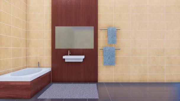 Moderne Badezimmer Interieur Im Minimalistischen Design Stil Mit Badewanne,  Spiegel Und Einfache Keramikspüle Auf Leere Beige Fliesen Wand Hintergrund  Mit ...
