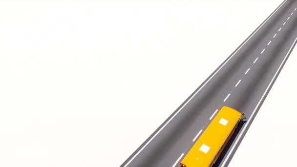 Erhöhte Ansicht der traditionellen amerikanischen gelben Schulbus fahren auf leere Asphaltstraße auf weißem Hintergrund mit Textfreiraum. Zurück zu Schule Konzept minimalistisch 3D-Animation gerendert in 4k