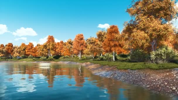 Tranquil autumn scenery with beautiful colorful trees on the shore of calm forest lake at clear day. With no people fall season realistic 3D animation rendered in 4K
