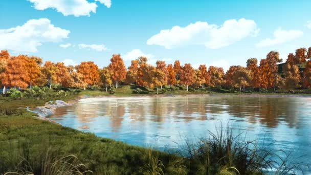 Calm forest pond with scenic colorful autumn trees at the shore at sunny fall day. With no people realistic 3D animation rendered in 4K