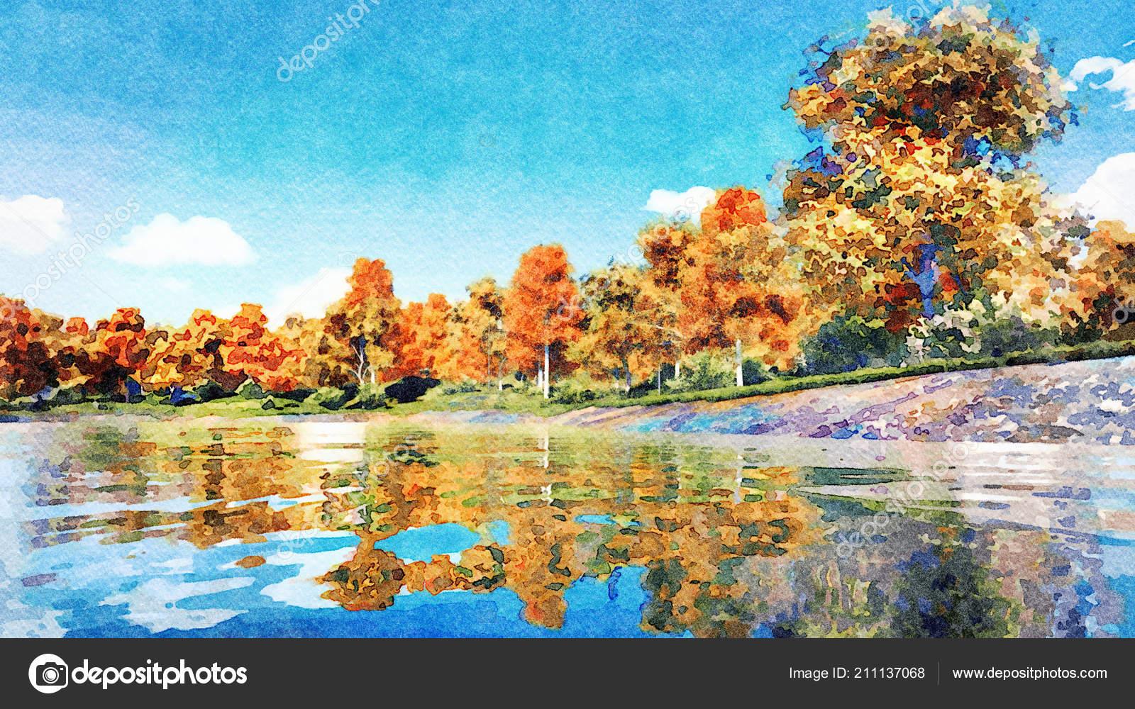 Dipinto Acquerello Paesaggio Autunno Con Gli Alberi Autunnali