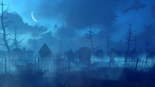Abandoned scary graveyard with old decaying tombstones and magic firefly lights soaring in the air at dark misty night with half moon in the sky. Cinemagraph style fantasy 3D animation rendered in 4K