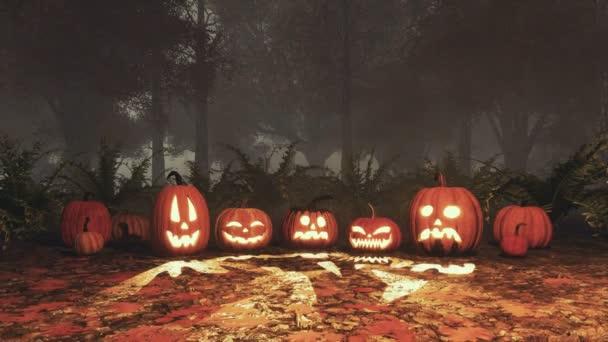 Közelről különböző Jack-o-lantern vicces faragott halloween sütőtök a földön, alkonyatkor vagy éjszaka lehullott őszi levelek, ködös erdő hatálya. Őszi szezon ünnepi 3d animáció jelenik meg, a 4k