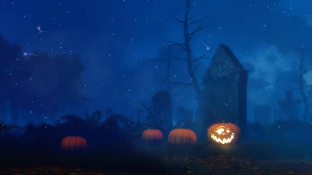 Jack-o-lantern carved Halloween pumpkin and mystical firefly lights at abandoned old scary cemetery at dark misty night. Cinemagraph style fantasy 3D animation rendered in 4K