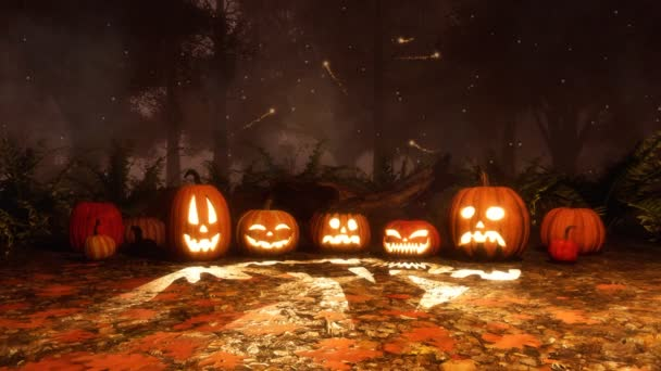 Close up of various Jack-o-lantern carved Halloween pumpkins in haunted autumn forest with magic firefly lights soaring in the air at dark mystical night. Fantasy 3D animation in cinemagraph style.