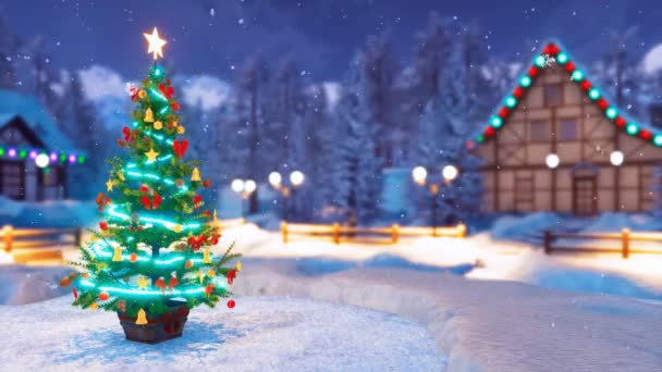 Christmas tree decorated by christmas lights and baubles and blurred snow covered alpine village on background at snowfall winter night. 3D animation for Xmas or New Year holidays rendered in 4K