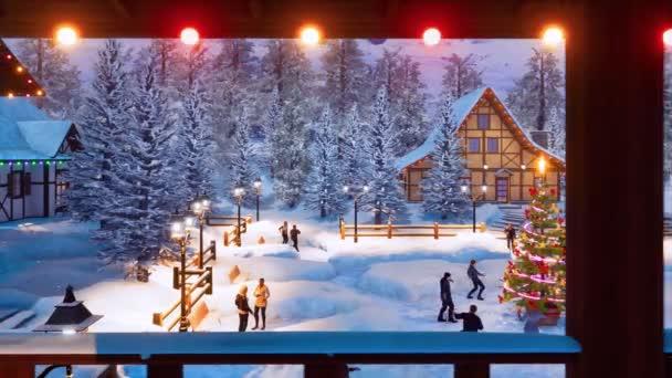 Radostné lidé tančit a oslavovat Vánoce nebo nový rok kolem venkovní vyzdobený vánoční strom na zasněžené náměstí útulné alpské horské township v zasněžené zimní noci. Pohled z terasy 3d animace
