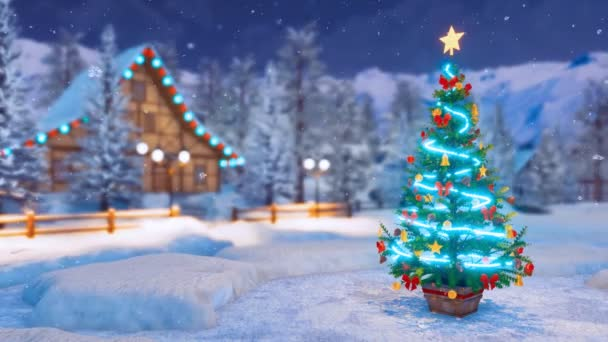 Outdoor decorated Christmas tree on snowbound square of illuminated alpine village high in mountains at snowfall winter night. Festive 3D animation for Xmas or New Year holidays rendered in 4K